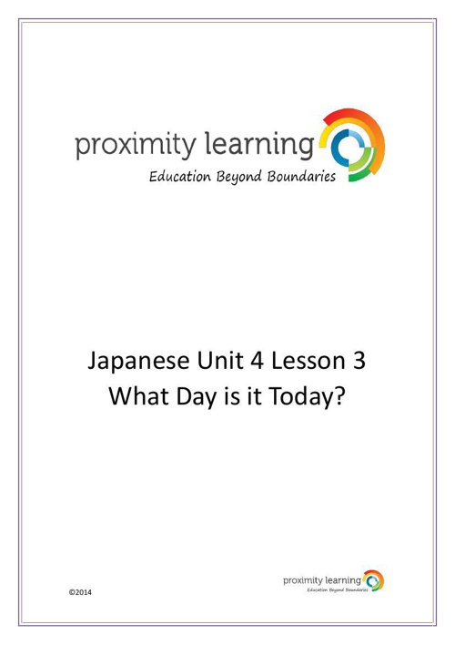 JPN Unit 4 Lesson 3: What Day is it Today?