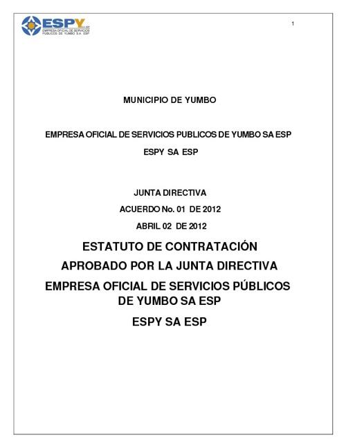 NUEVO ESTATUTO DE CONTRATACION ESPY