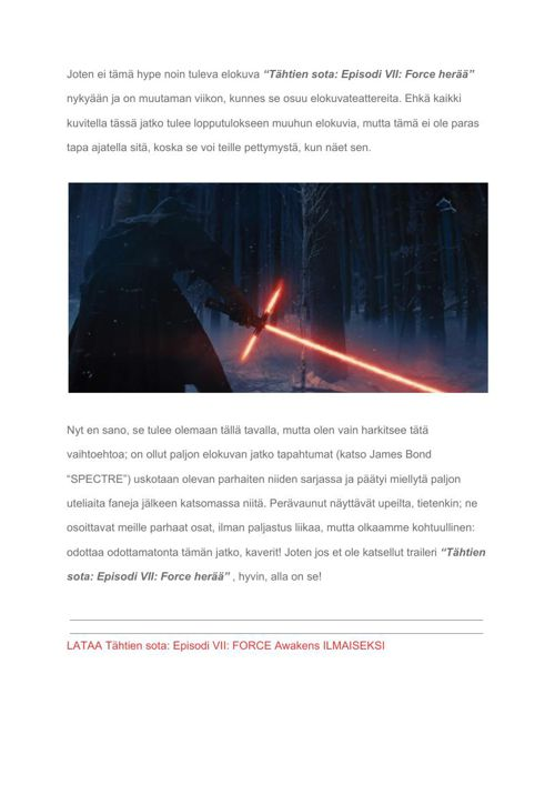 """[Fi] What to expect from """"Star Wars Episode VII- The Force Awake"""