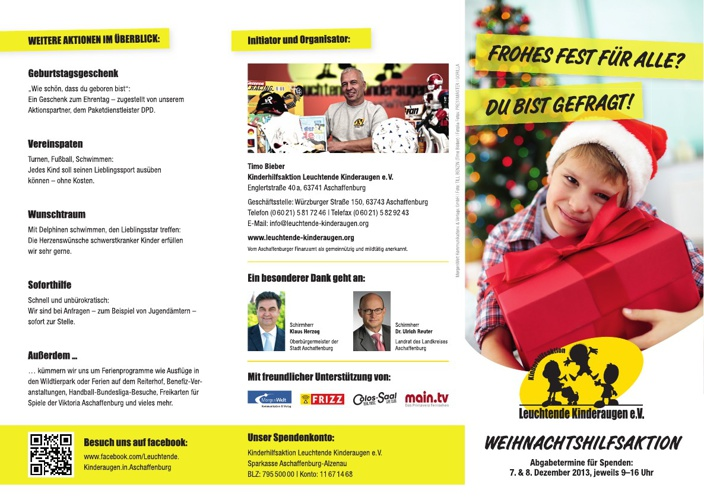Weihnachtsflyer2013 Kinderhilfsaktion Leuchtende Kinderaugen e.V