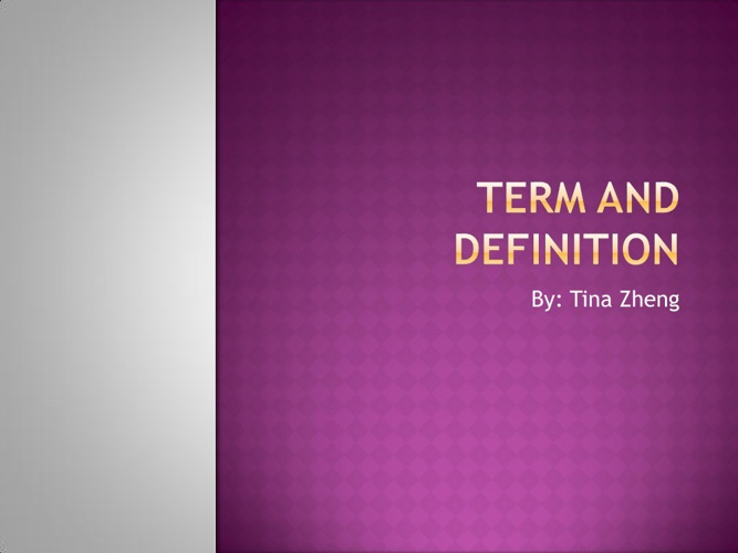 terms and definition