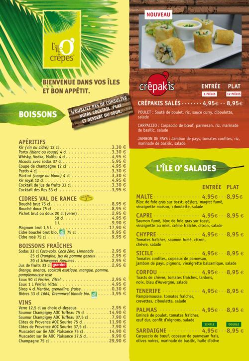 Menu l'île O' crêpes