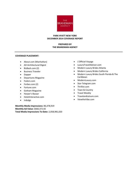 PHNY December 2014 Coverage Report