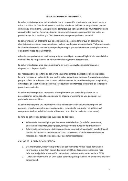 Tema 3 ADHERENCIA TERAPEUTICA