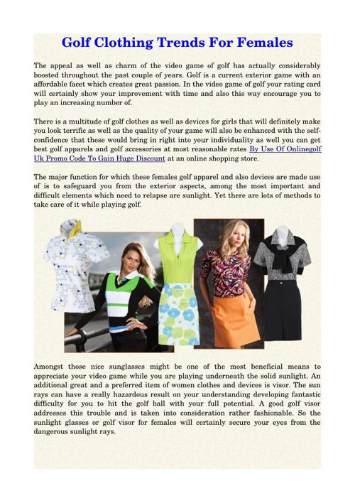 Golf Clothing Trends For Females