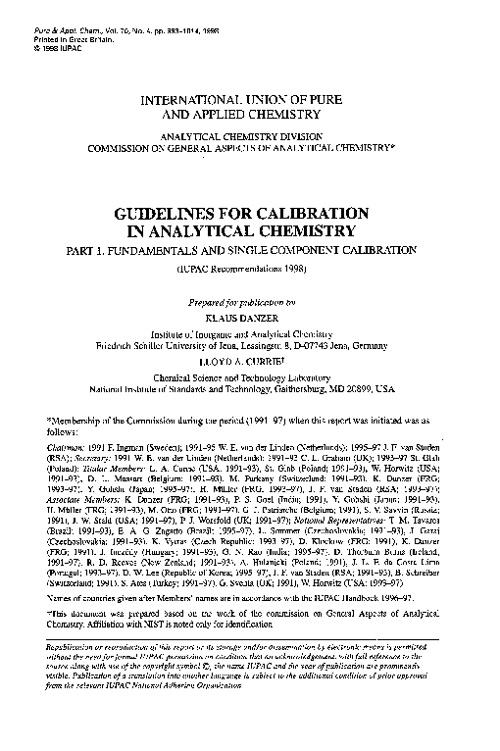 IUPAC Calibration