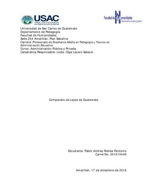 Compendio de Leyes de Guatemala