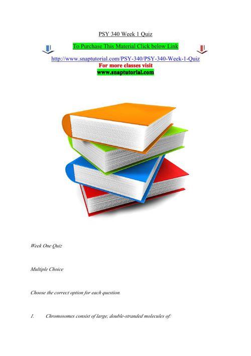 PSY 340 Week 1 Quiz