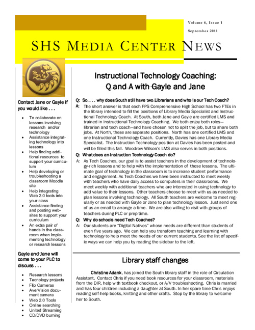 September Newsletter South Library