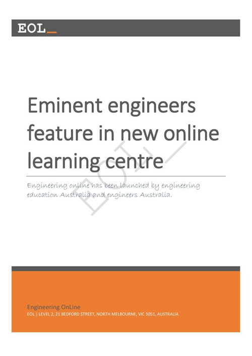 Eminent engineers feature in new online learning centre