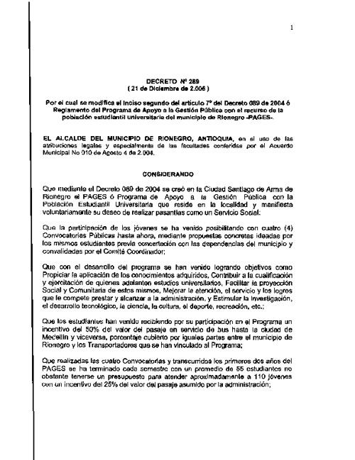 Decreto 289