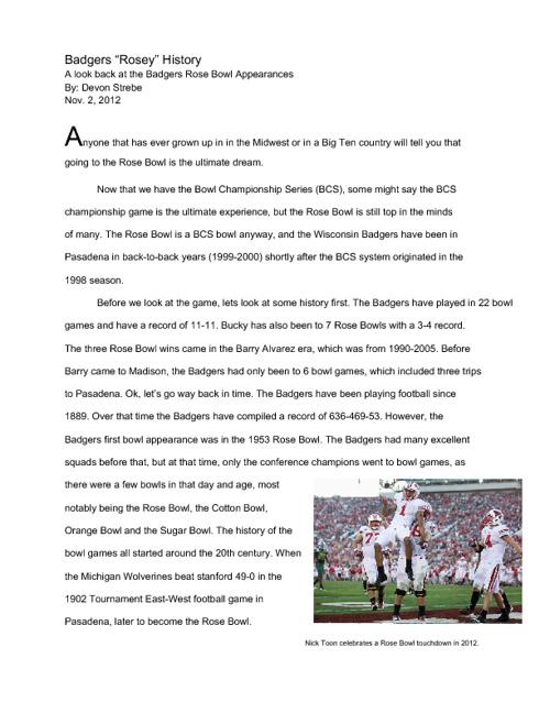 Badger Rose Bowl History