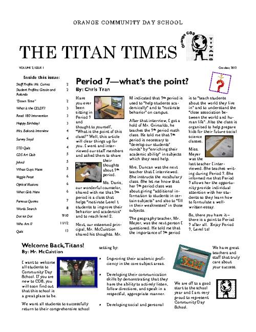 Titan Times. Volume 2, Issue 1