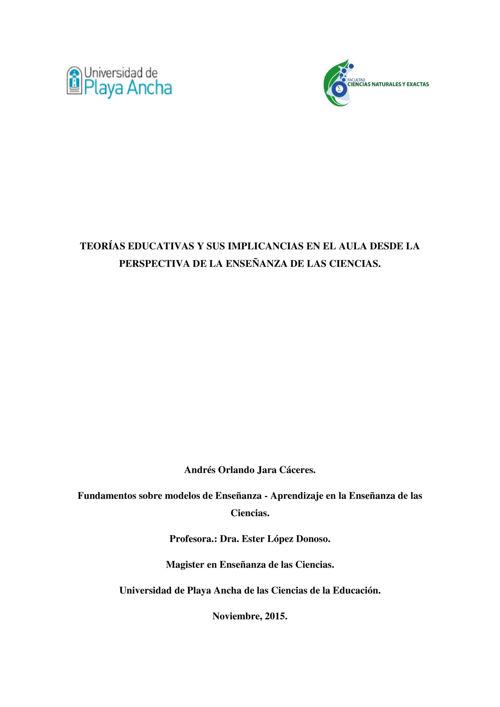 TEORÍAS EDUCATIVAS  Y SUS IMPLICANCIAS - ANDRES JARA CACERES