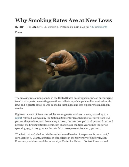 Smoking Rate Article