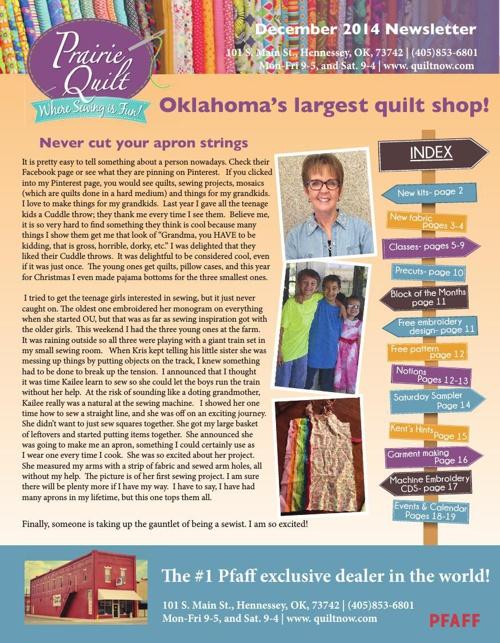 Prairie Quilt December 2014 newsletter!