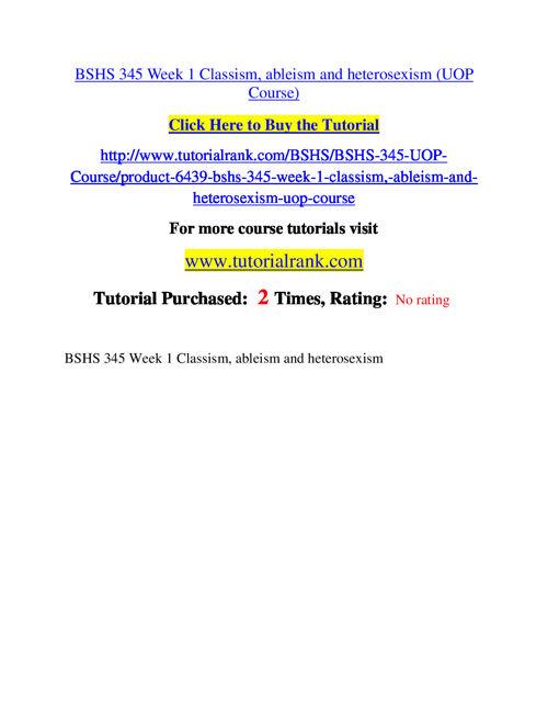 BSHS 345 Course Success Begins / tutorialrank.com