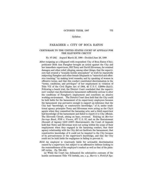 Faragher v. Boca Raton