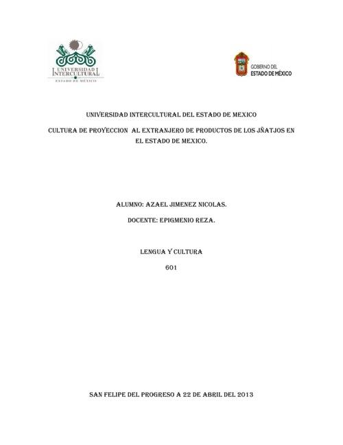 CULTURA DE PROYECCION  AL EXTRANJERO DE TURISMO.