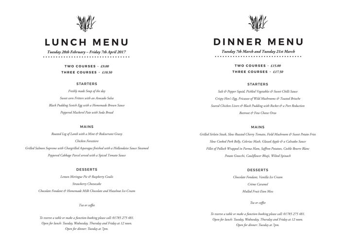 Riverbank March Menu