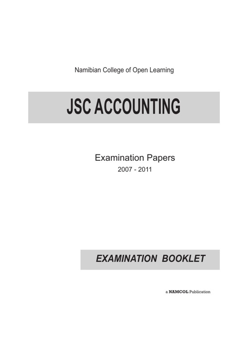 JSC Accounting Examination Booklet (2007 - 2011)
