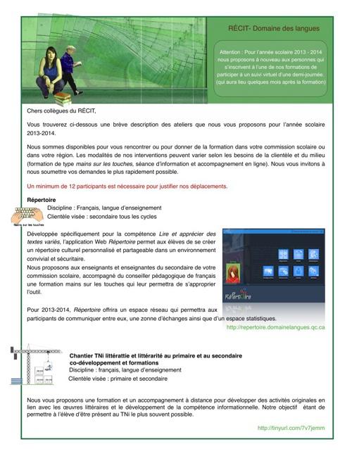 Offre de service DDL 2013-2014