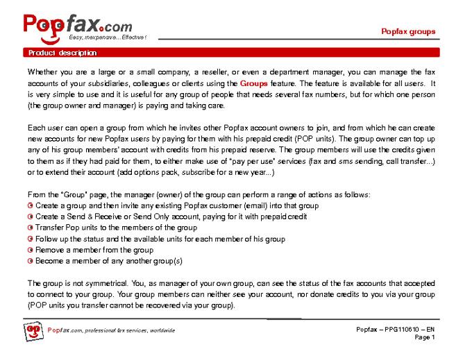Popfax Groups