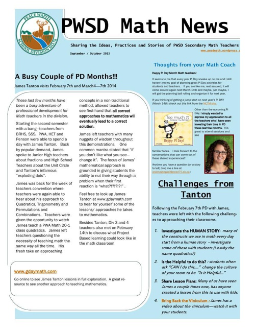 PWSD Math News March 2014