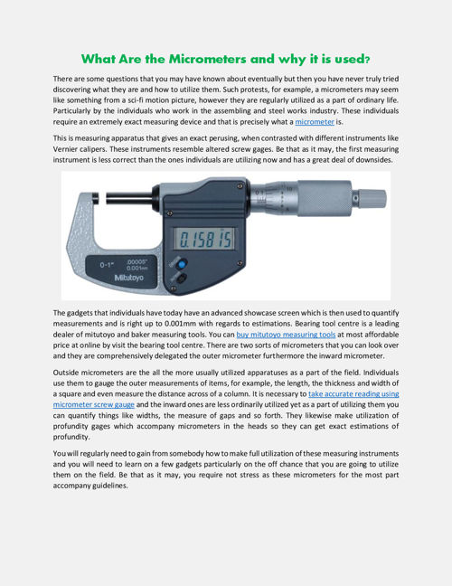 What Are the Micrometers and why it is used