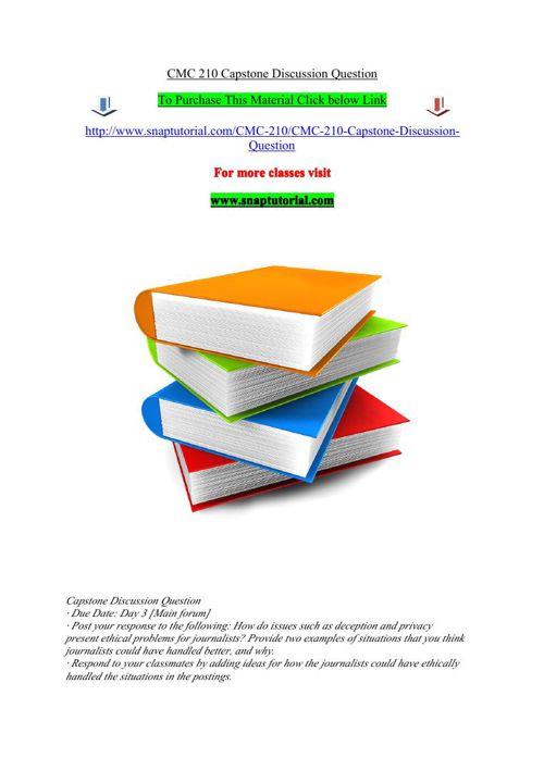 CMC 210 Capstone Discussion Question