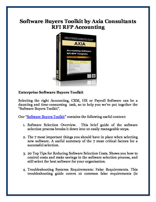 Software Buyers Toolkit by Axia Consultants RFI RFP Accounting