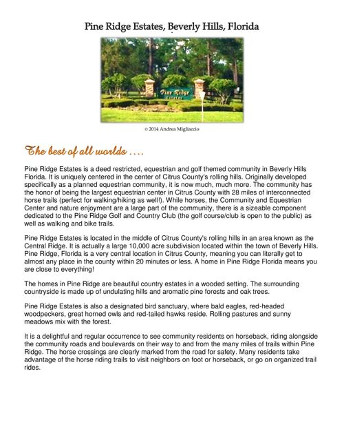All About Pine Ridge Estates (Beverly Hills, FL)