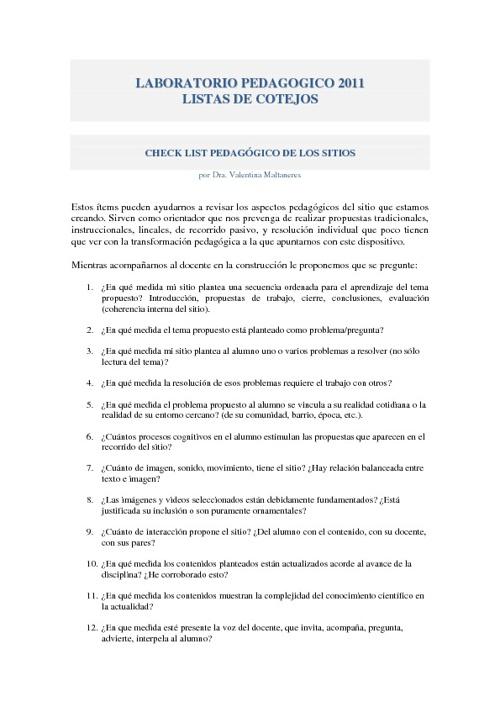 Lista de Cotejo Laboratorio Pedagógico