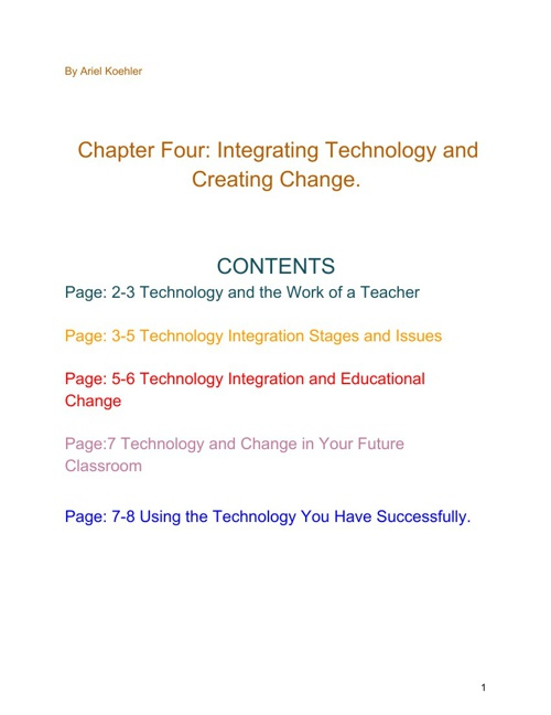 Intergrating Technology and Creating Change