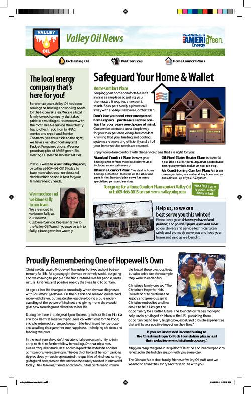 Valley Oil Winter 2012 Newsletter