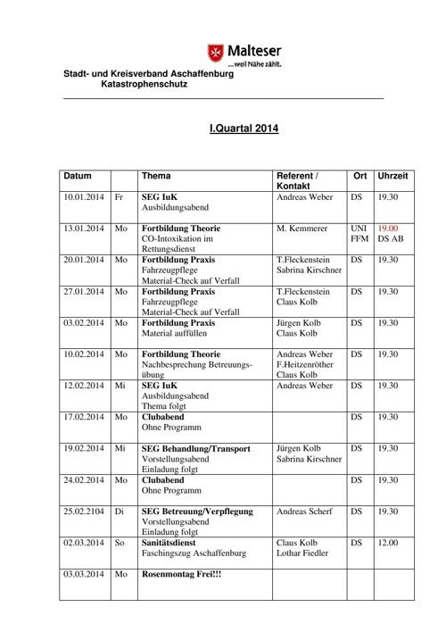 Malteser_EV_Ausbildungsplan_Montags_I_Quartal_2014
