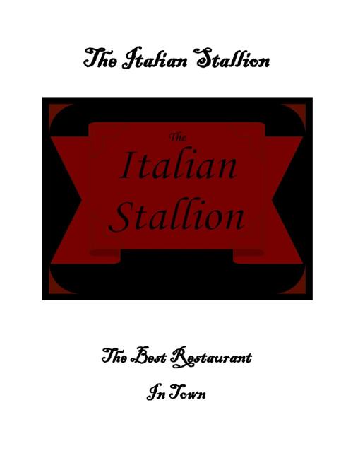 The Italian Stallion Menu
