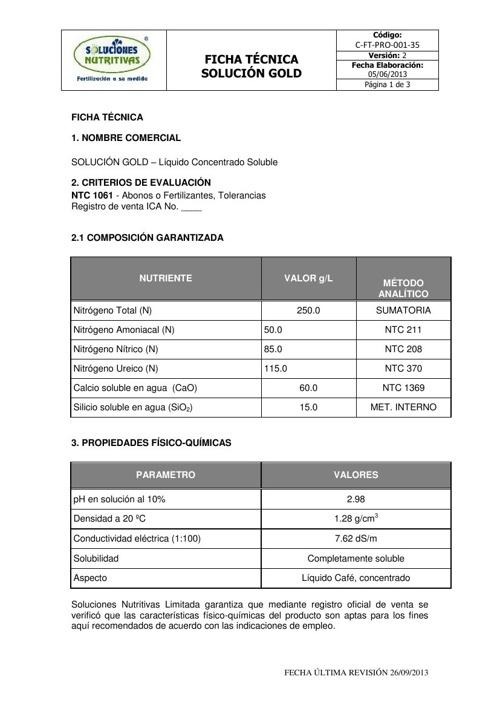 SOLUCION GOLD - Ficha Tecnica
