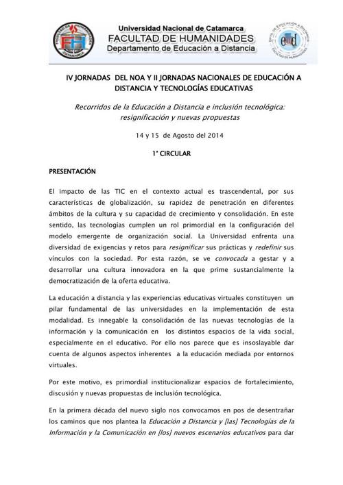 Jornadas EAD UNCa
