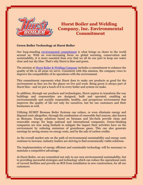 Hurst Boiler and Welding Company, Inc. Environmental Commitment