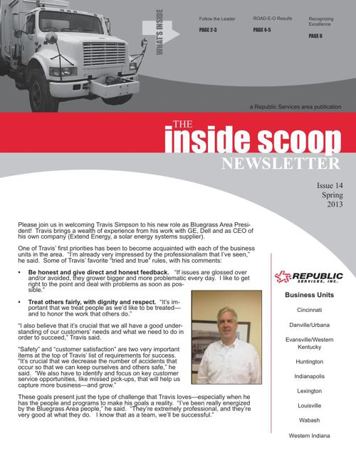 MM Sanitation Inside Scoop Newsletter Spring 2013