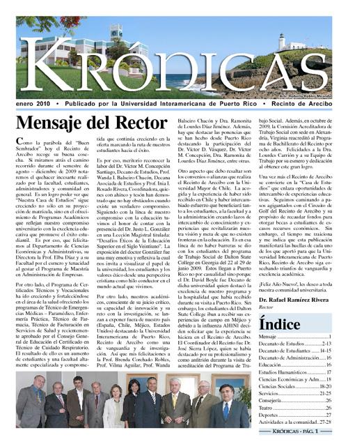 Periódico Krónicas - enero 2010