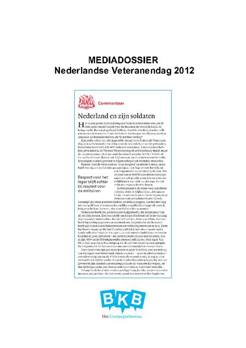 Veteranendag Mediadossier 2012