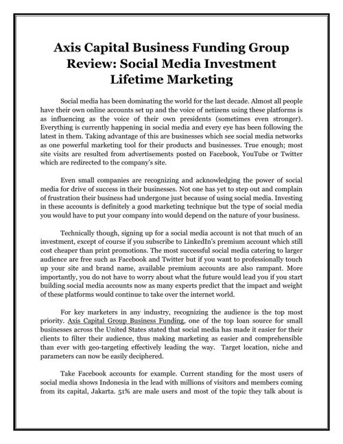 Axis Capital Business Funding Group Review: Social Media Investm