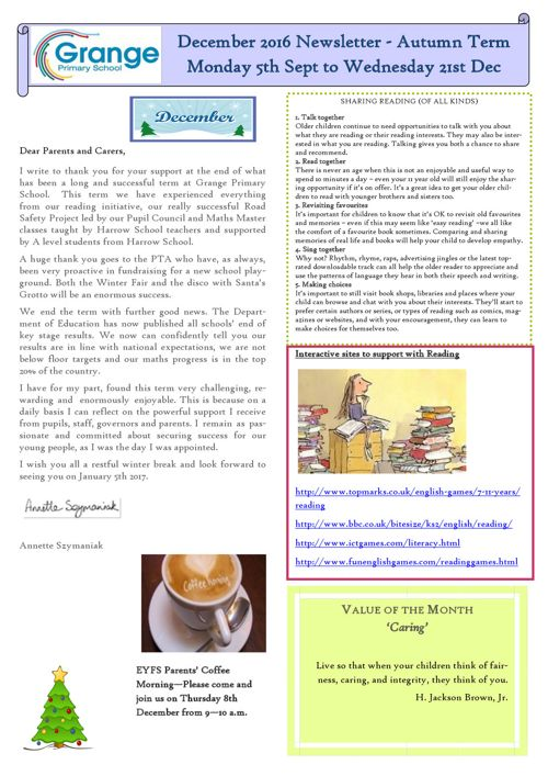 December 2016 Newsletter