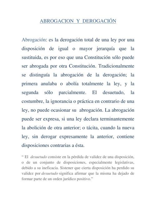 Abrogacion  Y  Derogacion
