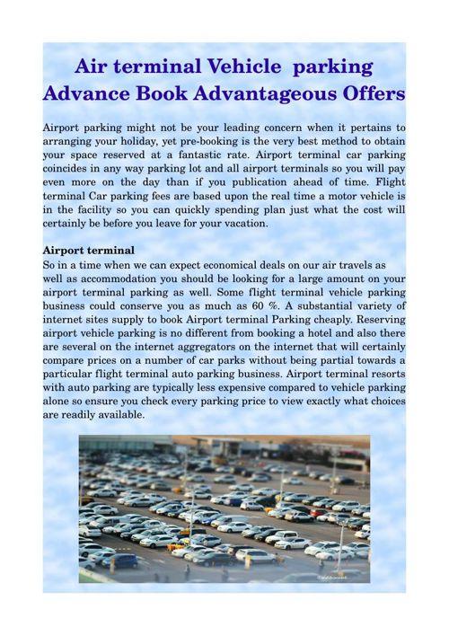 Air terminal Vehicle  parking Advance Book Advantageous Offers