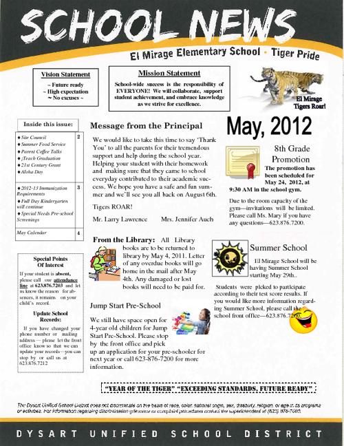 El Mirage School May Newsletter 2012