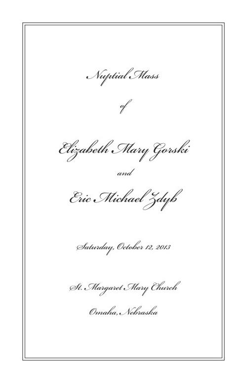 Elizabeth Wedding Program 5