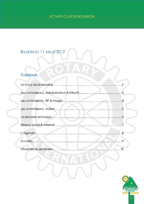 Bulletin #001